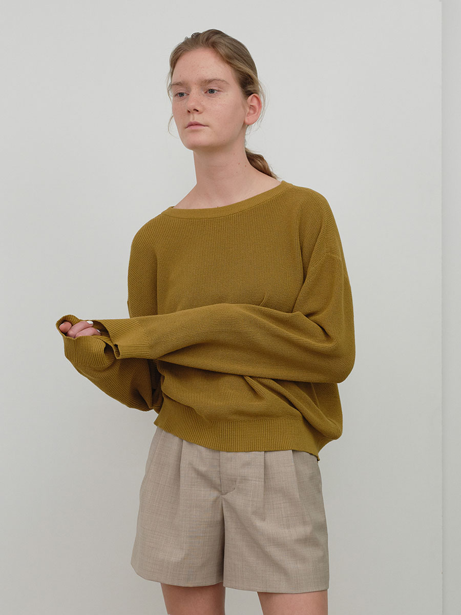 crewneck knit  (golden olive)