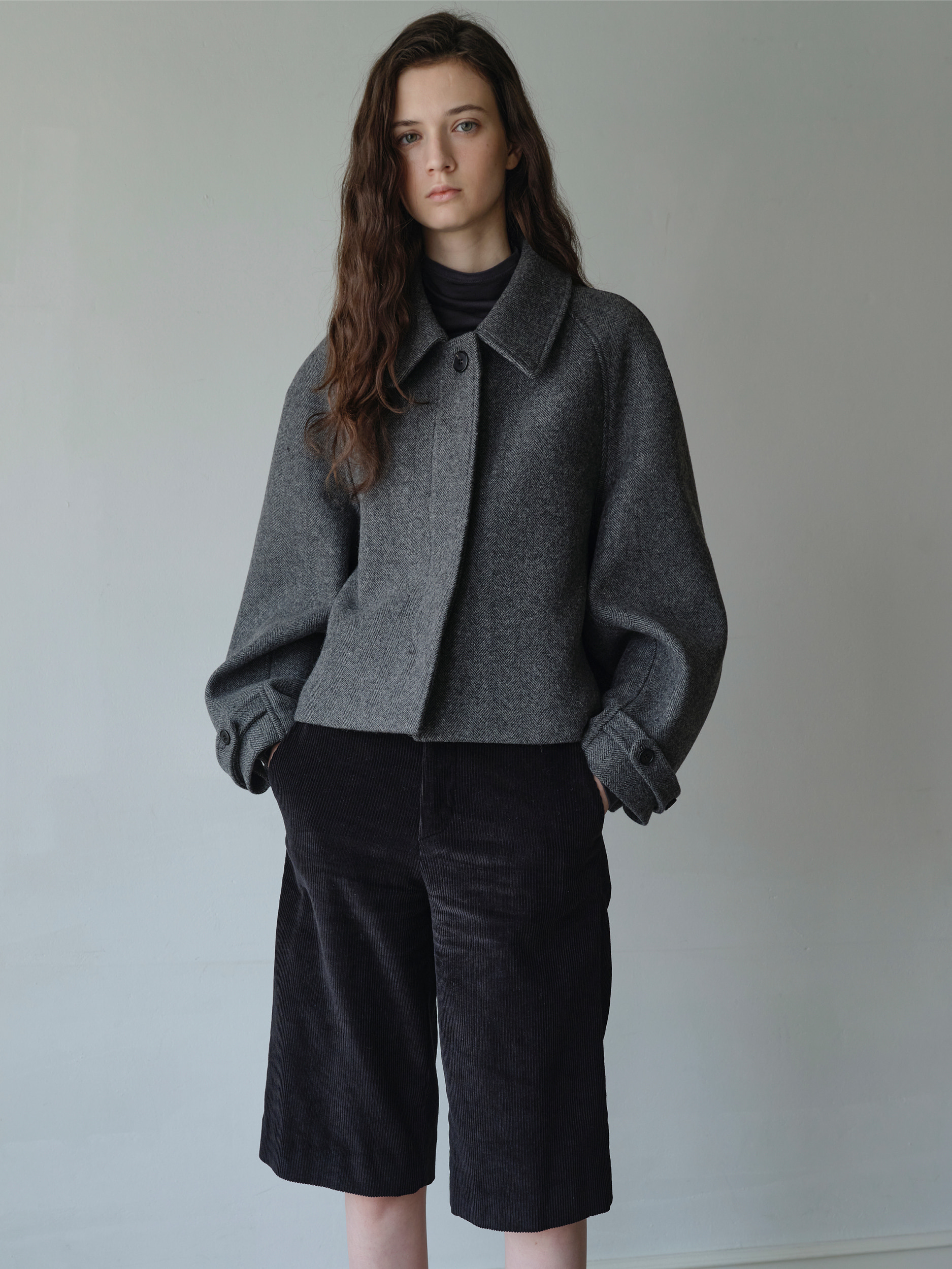 cropped balmacaan coat  (herringbone)