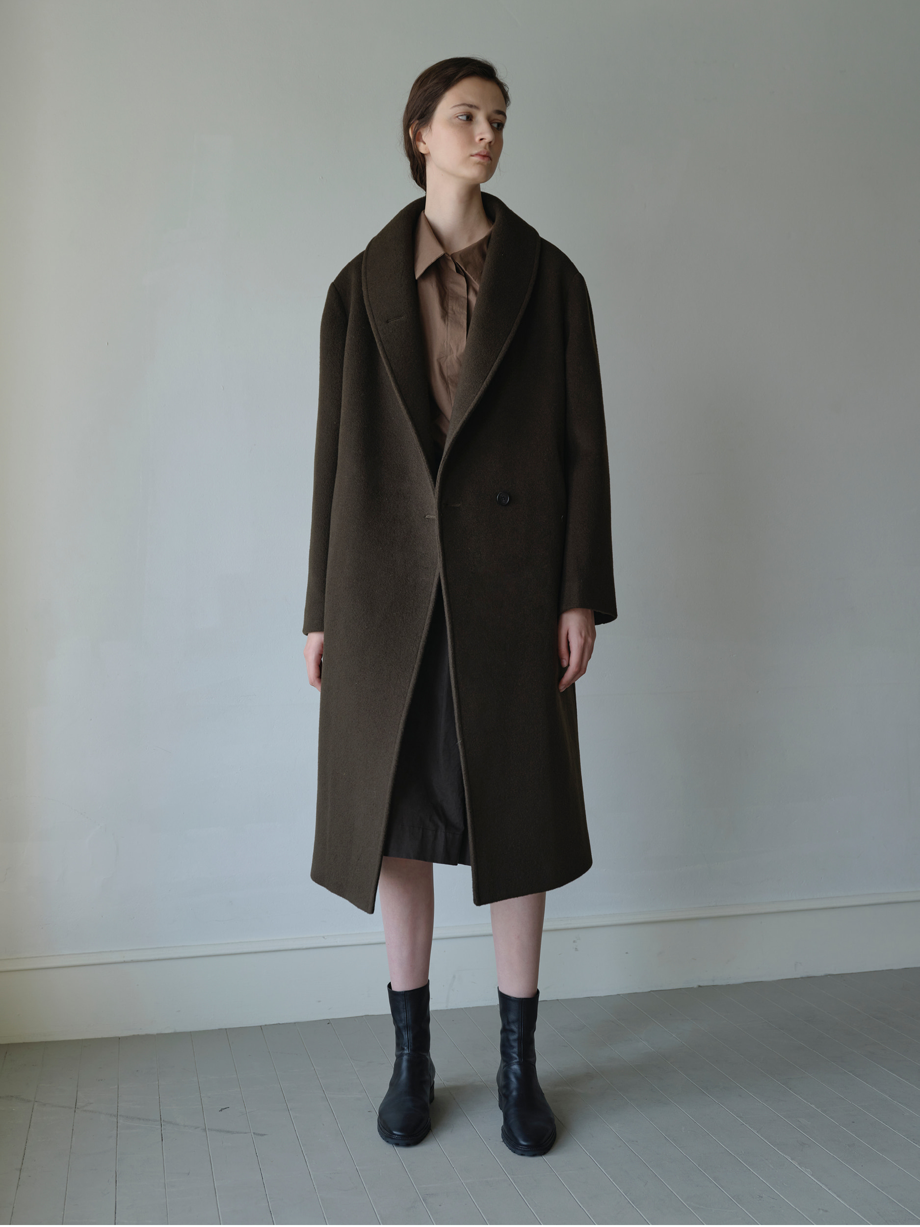 shawl cashmere  blend coat  (brown)