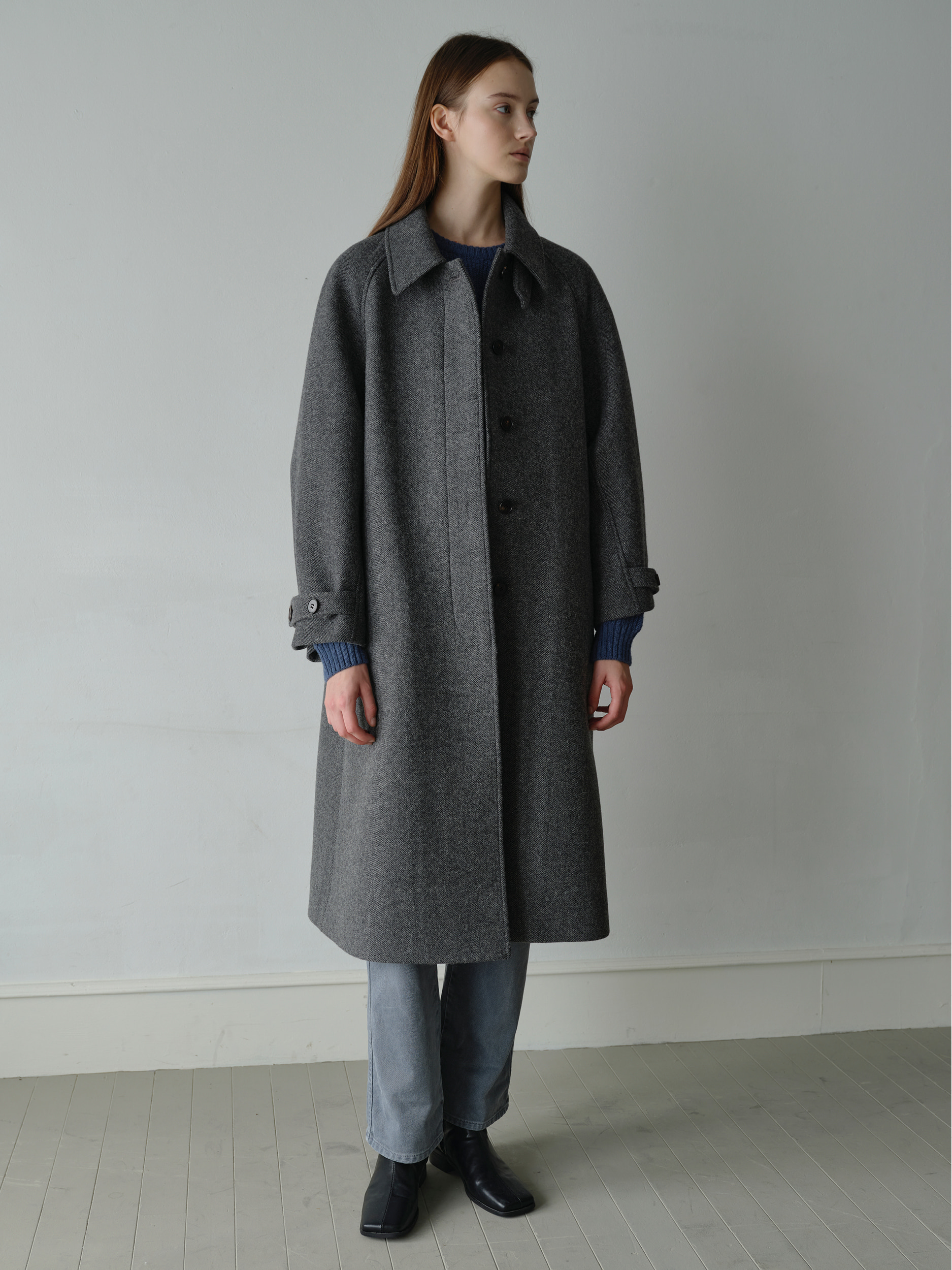 balmacaan coat  (herringbone gray)